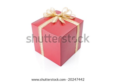 Red gift with a golden bow isolated on white background