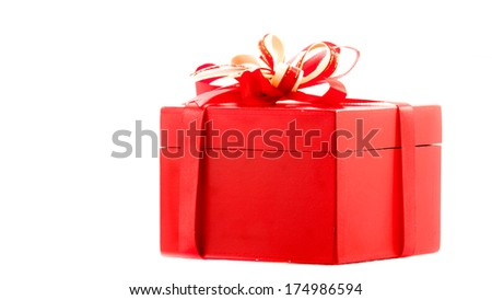 Red gift with a red ribbon and a bow