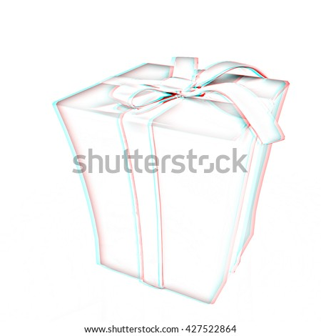 Red gift with gold ribbon on a white background.. Pencil drawing. 3D illustration. Anaglyph. View with red/cyan glasses to see in 3D.