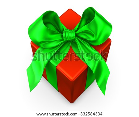 red gift with green ribbon on white background
