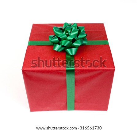 red gift with ribbon