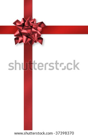 Red gift wrap ribbons on white background