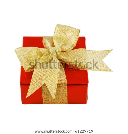 Red gift wrapped present with golden ribbon bow isolated on white - stock photo