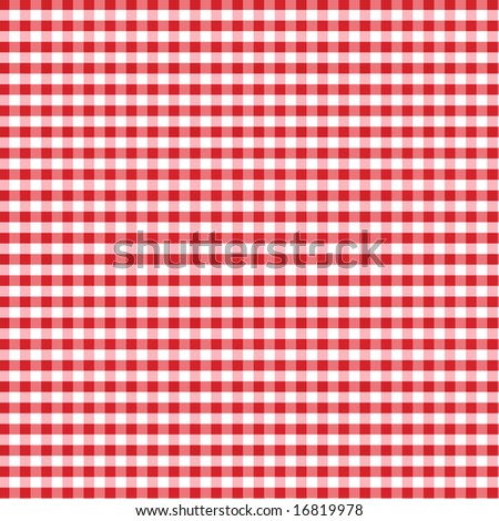 Red Gingham Check Pattern for tablecloths, napkins, curtains, home decorating, arts, crafts, fabrics, scrapbooks, backgrounds. - stock photo