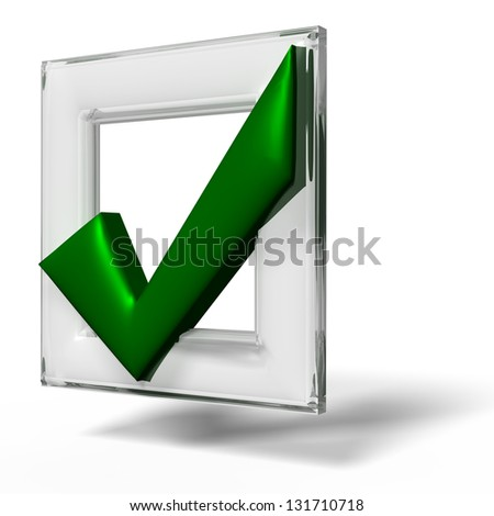 Red glass Check mark on white background - stock photo