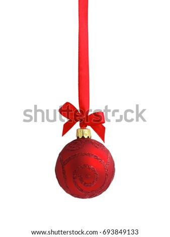 Red glass glitter Christmas bauble (decoration) hanging on a red satin ribbon with a bow, isolated on white