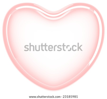 Red glass heart on white background - stock photo