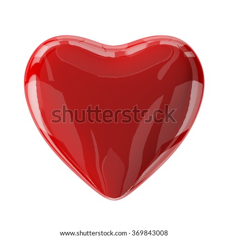 Red glass valentine's heart isolated on white. 3d render with HDR - stock photo