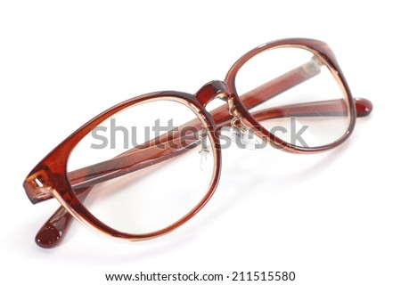 red glasses frame on a white background