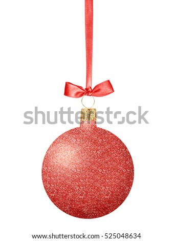 Red Glitter Christmas decor ball with bow on ribbon isolated on white background
