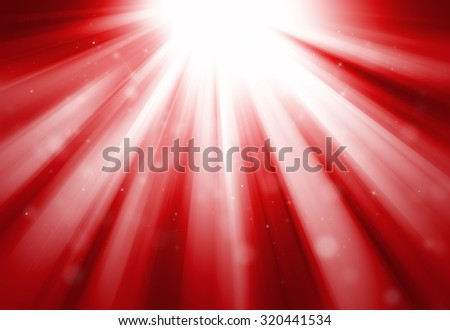Red glitter sparkle defocused rays lights bokeh abstract background.