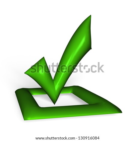 Red glossy Check mark on white background