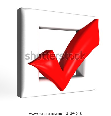 Red glossy Check mark on white background - stock photo