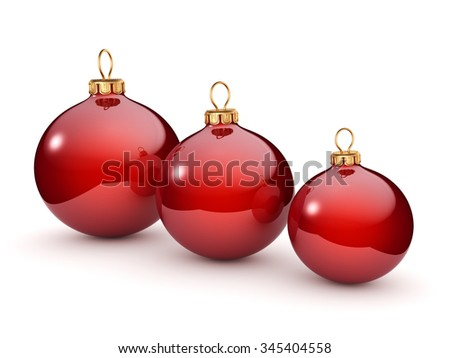 Red glossy christmas ball on  white background