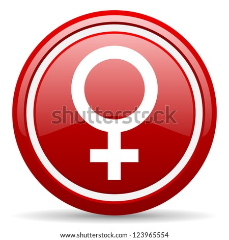 red glossy circle web icon on white background with shadow - stock photo