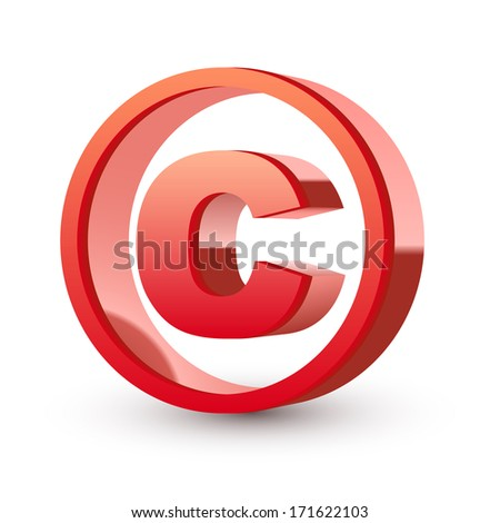 red glossy copyright symbol isolated white background