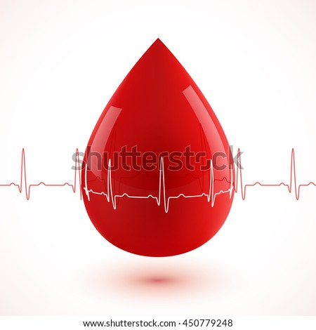 Red glossy 3d blood drop with red and white cardiogram - stock photo