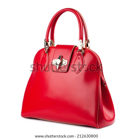 Red glossy female leather bag isolated on white background - stock photo