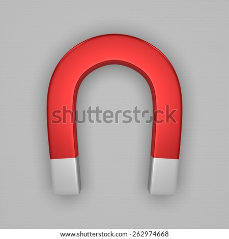 Red glossy horseshoe or U shape magnet with white tips on gray background - stock photo