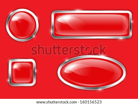 Red glossy metallic buttons