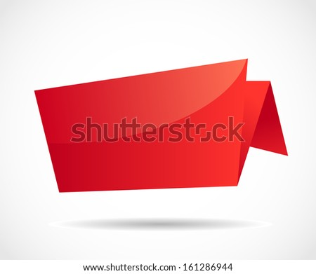 Red glossy origami blank bubble speech