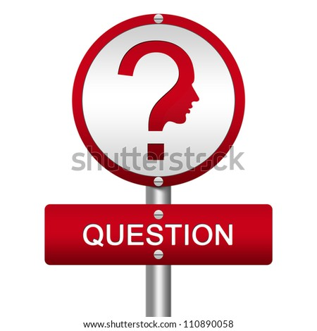 Red Glossy Style Question Street Sign and Question Mark With Face Isolated on White Background - stock photo