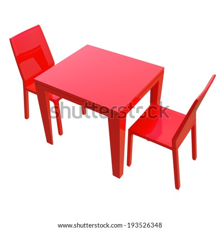 red glossy table and two chairs isolated on white