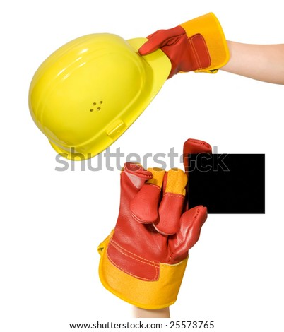 Red glove holding an empty frame and glove holding a yellow hard hat isolated