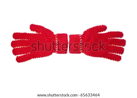 red gloves isolated on white background