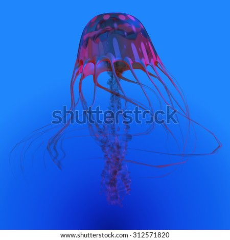Red Glowing Jellyfish - The Jellyfish is a transparent gelatinous predator that uses its stinging tentacles to catch fish and small prey. - stock photo