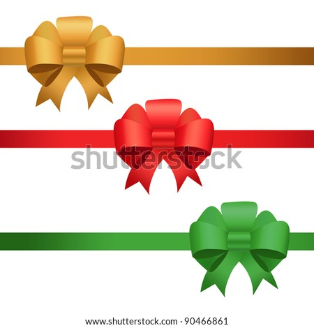 Red, golden and green christmas bows