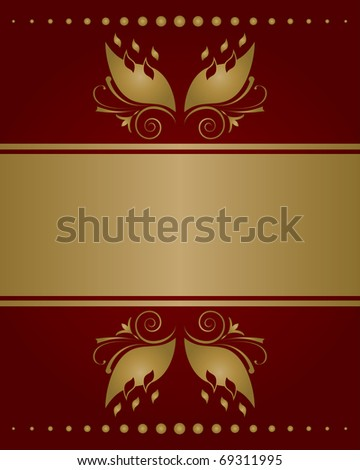Red golden invitation card background
