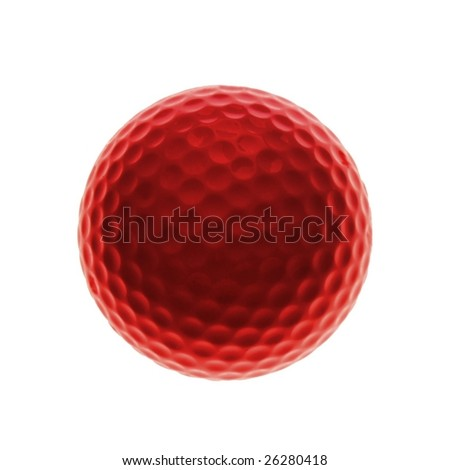 Red golf ball isolated on white