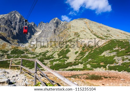 Red gondola to Lomnica peak in High Tatra Mountains, Slovakia