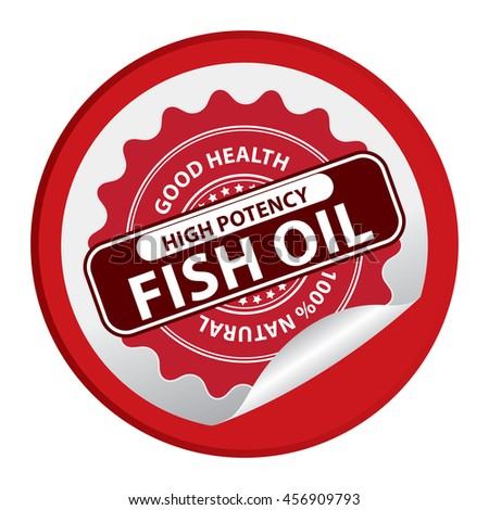 Red Good Health High Potency Fish Oil 100% Natural Infographics Icon on Circle Peeling Sticker Isolated on White Background
