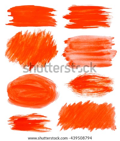red gouache stains set on white for Your design templates - stock photo