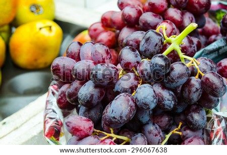 red grape in market , selective focus - stock photo