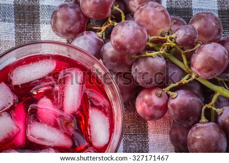 red grape on cotton background