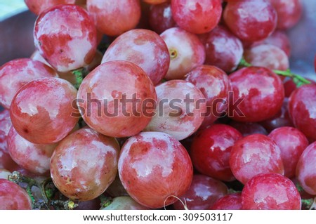 Red grape ,Red grape with water drops, closeup
