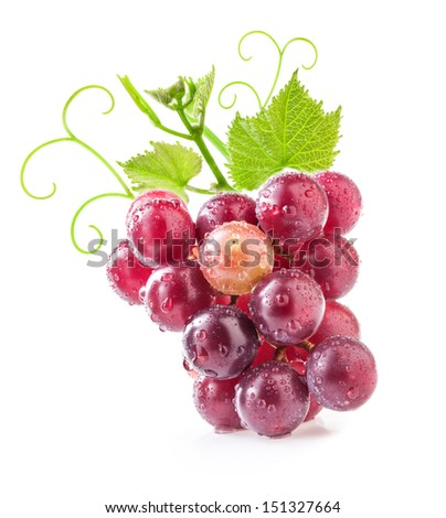 Red grape with water drops, isolated on white background - stock photo