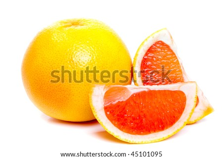 Red grapefruits on the white background