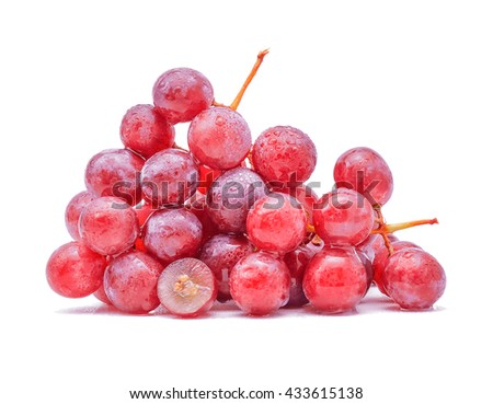 red grapes and water drops isolated on white background, - stock photo