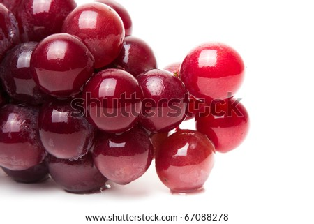 Red Grapes isolated on a white background - stock photo