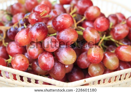 Red grapes on a white background.