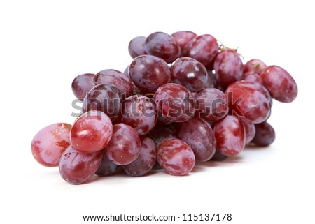 red grapes over white background - stock photo