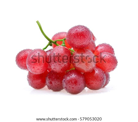 Red grapes with drop of water isolated on white background.