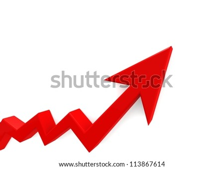 Red graph - stock photo