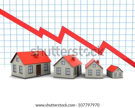 Red graph and houses:  decline in sales