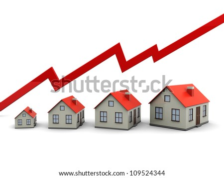 Red graph and houses: growth in real estate - stock photo
