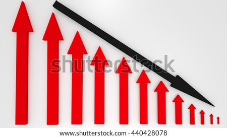 Red graphic arrows pointing up and a black arrow shows decrease on white background. Financial chart. From high to low. 3D illustration - stock photo